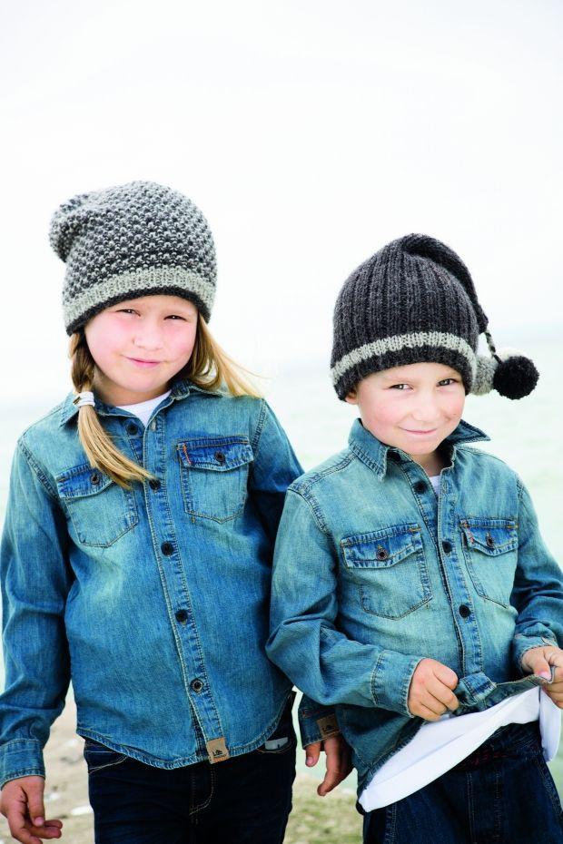 Strikkeopskrift - Fine huer til børnene