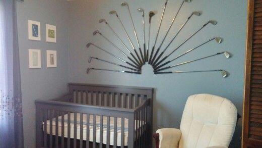 Golf nursery clubs wall decor boy baby