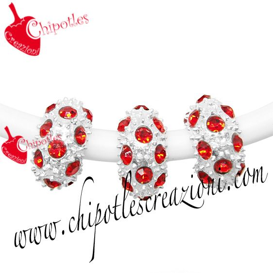 Distanziatore Perla a Foro Largo con Strass - Rosso | Large Hole Beads with Strass - Red