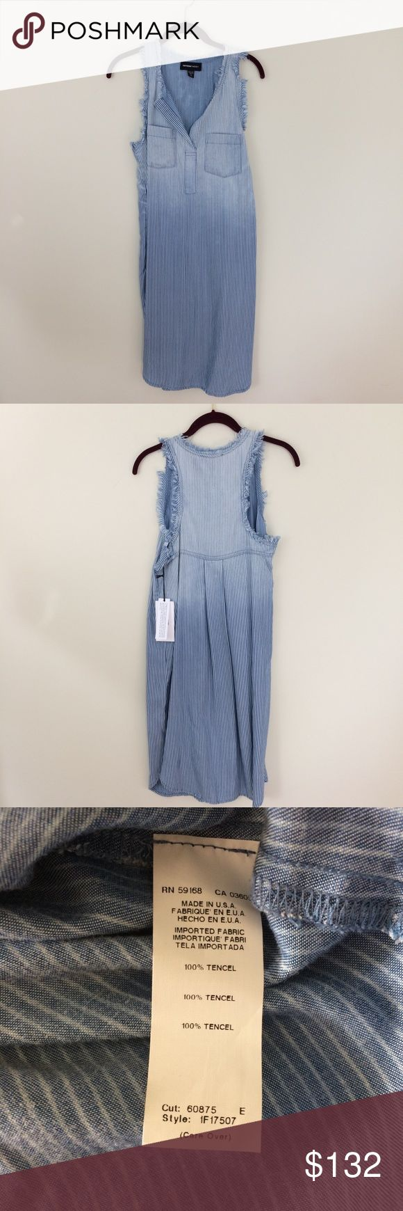 🆕❤️Fifteen Twenty Frayed shirt Dress This classic shirt dress by Fifteen Twenty with a  frayed finish and ombré-washed chambray. It's sleeveless and striped with a shirttail hem. Have a question leave it in the comments. Fifteen Twenty Dresses