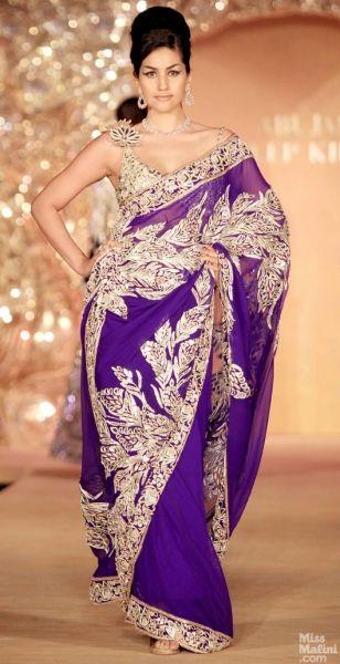 Purple sari. Abu Jani and Sandeep Khosla presents The Golden Peacock Collection. #saree #sari #blouse #indian #outfit #shaadi #bridal #fashion #style #desi #designer #wedding #gorgeous #beautiful