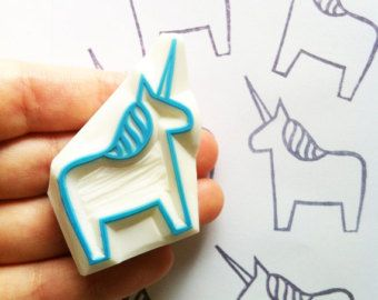 unicorn rubber stamp. hand carved rubber stamp. hand carved stamp. folk art. dala horse without tail. story telling. craft projects.