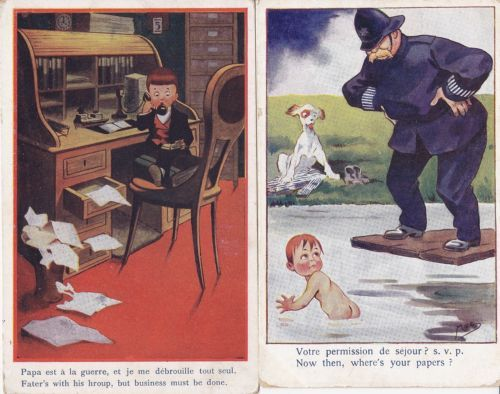 Two-Vintage-Comic-PCs-MAC-Children-Policeman-Dog-Lafayette-No-2-and-8