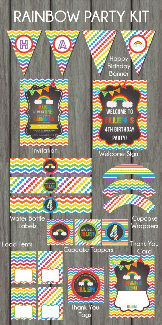 Rainbow Birthday Party, Rainbow Party Package, Rainow Birthday Package, Rainbow Birthday Invitation, Chevron Birthday Party on Etsy, $30.00