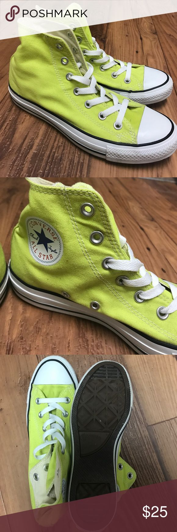Neon High Top Converse Neon yellow High atop Converse shoes. Only worn once, in great condition! Converse Shoes Sneakers