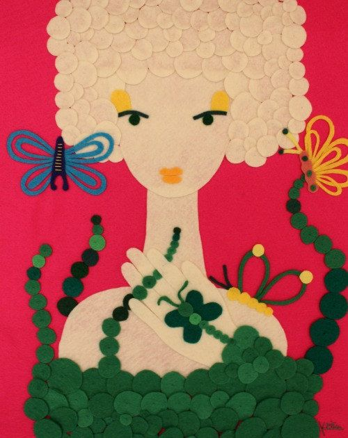 Handmade Felt Portrait Woman Butterflies Animals Hot Pink by Gaoui