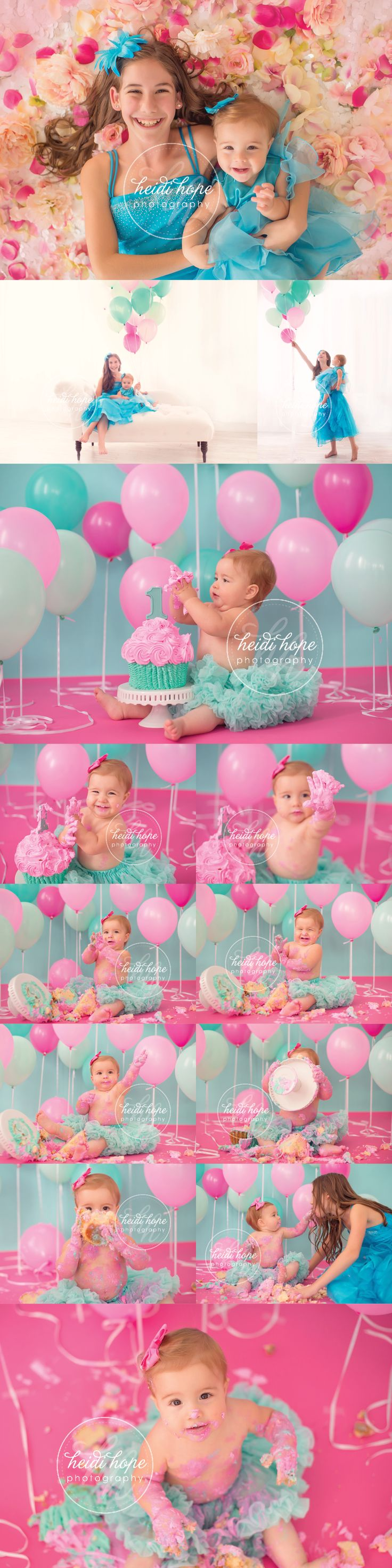 Hot pink, light pink, turquoise, mint, backlit balloons! Love the cake too!!!