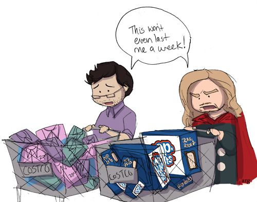 Bruce with his shirts and Thor with his poptarts. Love it.
