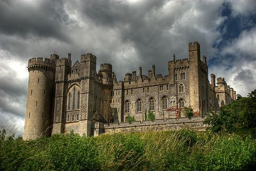 Arundel Castle in West Sussex, England is a restored medieval castle. The castle dates from the reign of Edward the Confessor (r. 1042-1066) and was completed by Roger de Montgomery, who became the first to hold the earldom of Arundel by the graces of William the Conqueror