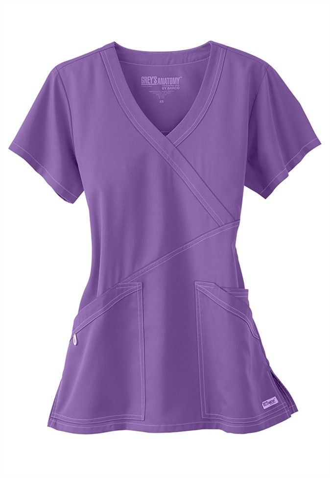 Greys Anatomy 3 pocket crisscross wrap scrub top. - Scrubs and Beyond