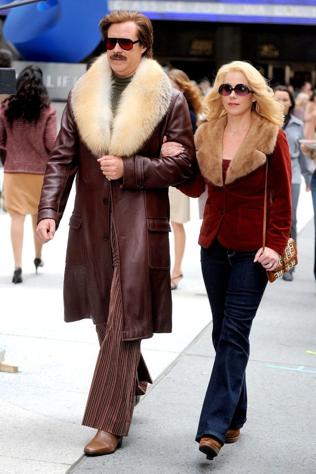 Will Ferrell and Christina Applegate on the set of 'Anchorman: The Legend Continues' in New York
