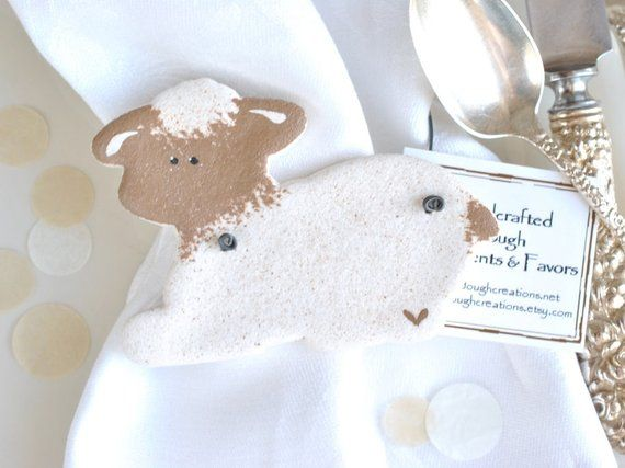 Baby Shower, Baptism Gift Personalized or Plain Lamb Salt Dough Ornaments / Christening Favors Set of 6