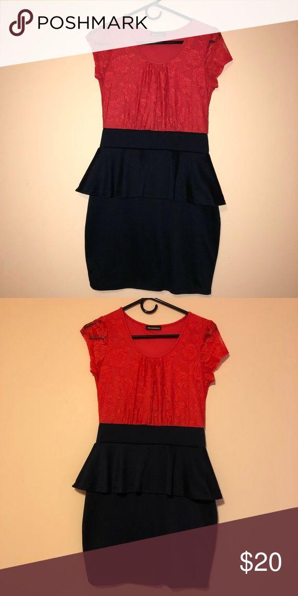 Peplum dress It is a navy and orange/red peplum dress size medium Dresses Mini