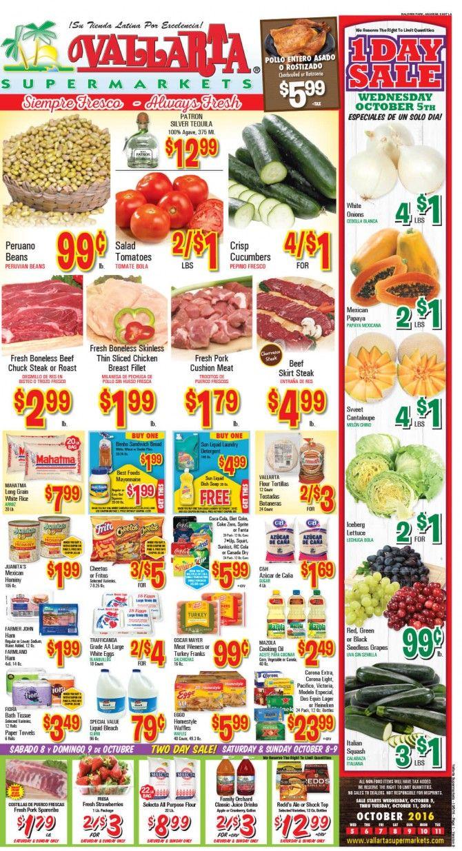 Vallarta Weekly Ad Flyer October 5 - 11, 2016 - http://www.olcatalog.com/grocery/vallarta-weekly-ad-fleyer.html