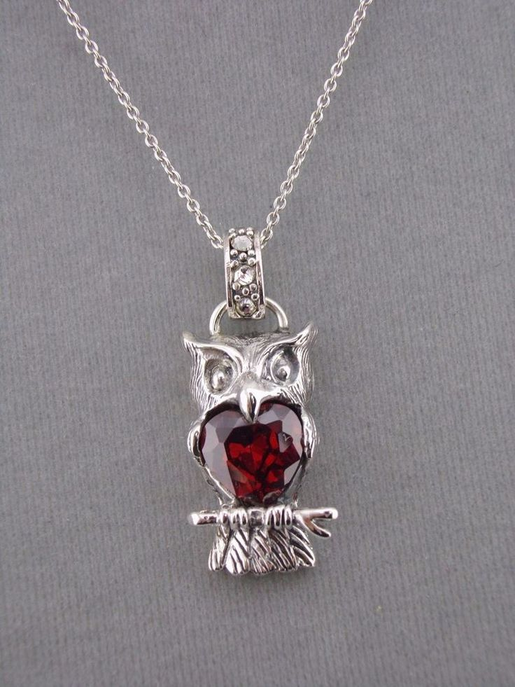 925 Sterling Silver Owl Necklace Red Crystal Heart Center Jewelry NEW #unbranded #pendant
