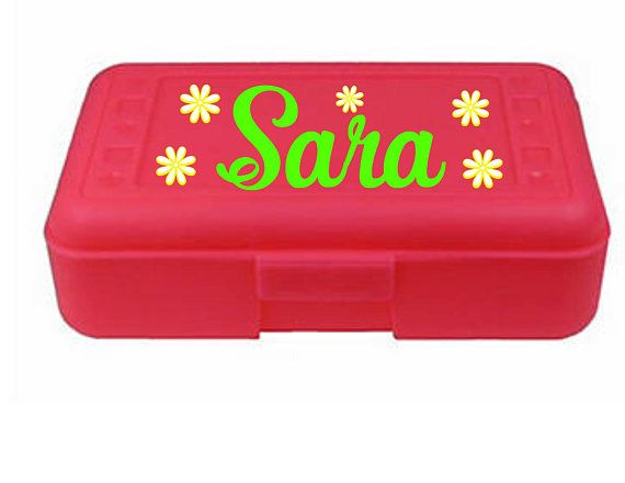 Back to School Monogram  Personalized Pencil Box Many