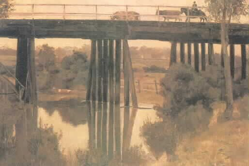 MP 5210. Winter morning after rain painted by Tom Roberts, 1890. Copy of Tom Robert's painting of a bridge over Gardiners Creek, taken from an unsourced auction catalogue. The bridge has been identified by VicRoads as Glenferrie Road bridge, built 1885.