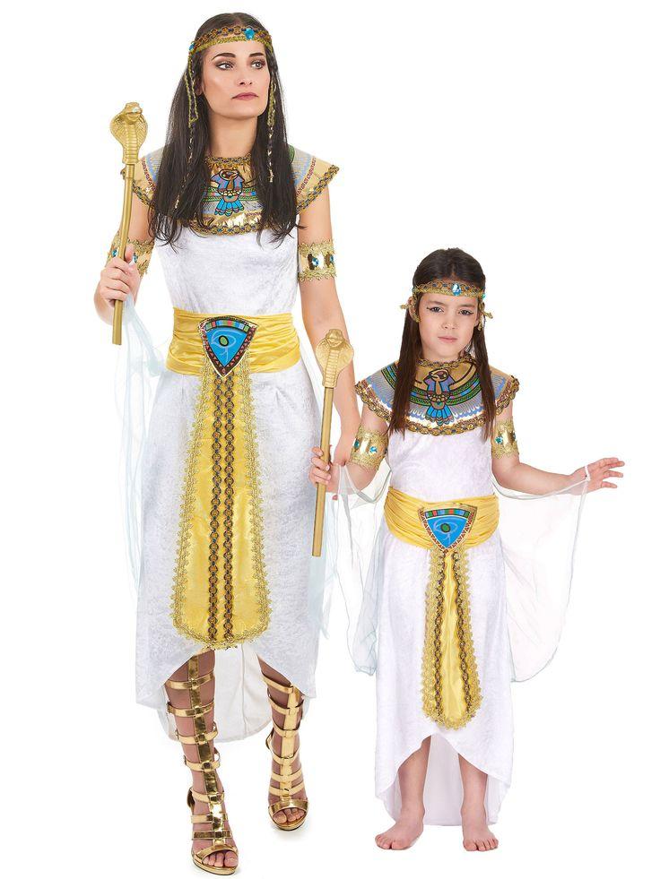 Déguisement couple reine Egyptienne mère et fille : Déguisement reine d'Égypte femmeCe déguisement de reine égyptienne pour femme se compose d'une robe avec voile, d'une collerette, d'un...