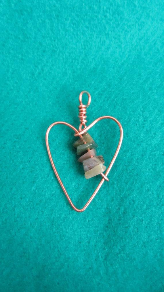 Heart pendant with jasper beads