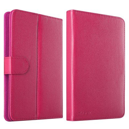 """Buy Insten Leather Universal Stand Folio Case for 7"""" Tablets Galaxy Tab 4 3 2 / RCA 7 Voyager II / Nextbook Ares 7 / FileMate Clear 7 / Visual Land Prestige Pro 7DS 7D / Ematic 7 / iPad Mini - Hot Pink at Walmart.com"""