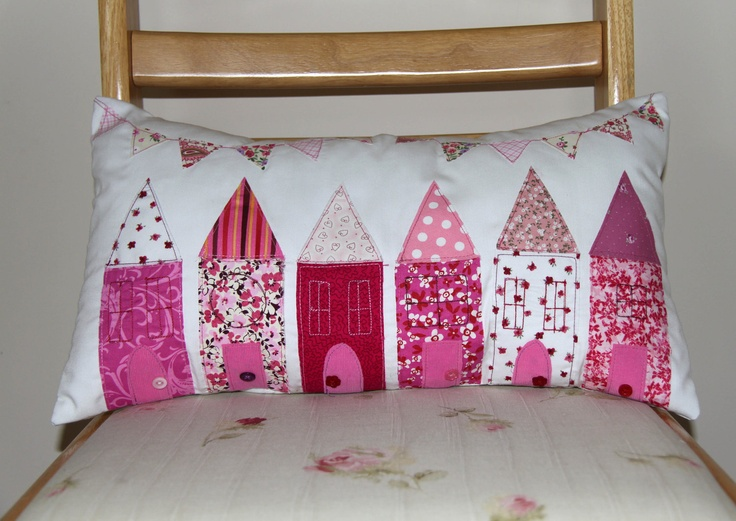 Handmade Cushion with 'Bunting Street' Applique. £31.00, via Etsy.
