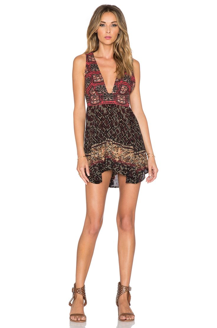 Free People Printed Cotton Noyale Heat Wave Summer Tunic Dress in Summer Red Combo