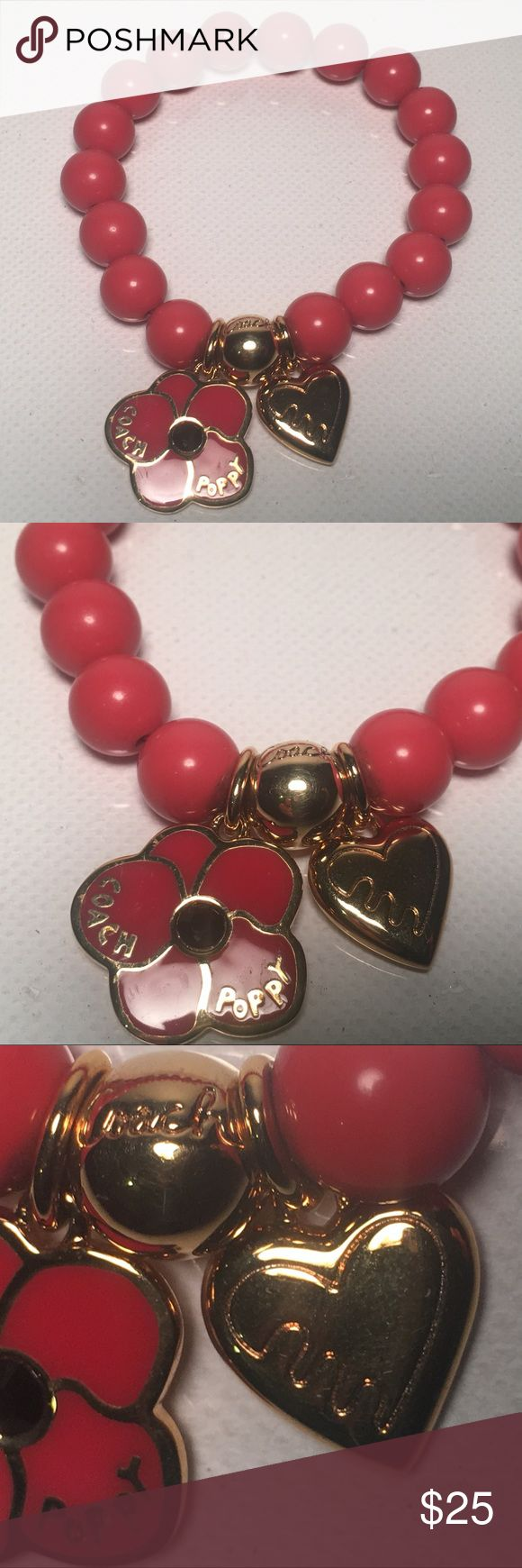 COACH Poppy Heart Flower Bead Bracelet Authentic COACH Poppy Heart Flower Bead Bracelet  A charming beaded piece in a brilliant shade of coral with mirror-bright gold plating and Coach signature charms. Beads and gold plating in mint condition ❤️😁💋 Coach Jewelry Bracelets