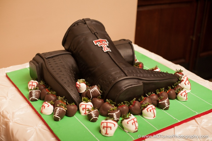 Texas Tech boots groom's cake with chocolate covered strawberries - Houston wedding photography - MD Turner Photography