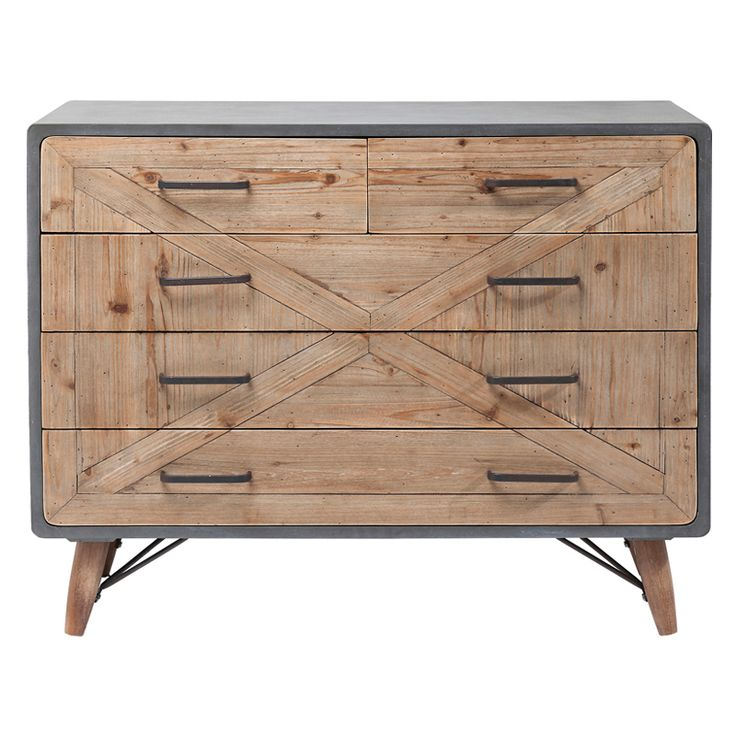 En modern men också rustik byrå i fin mix av betong och drivved. Byrån ingår i möbelserien X-Industri med sängbord, skåp, tv-bänk och sittbänk.