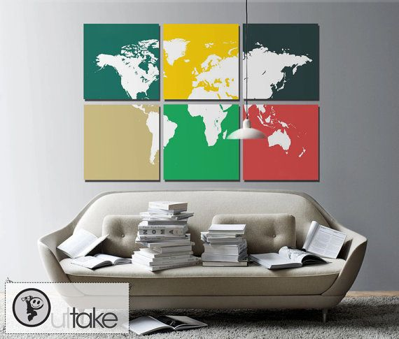 169 best interior design decor images on pinterest world maps world wall map on 6 panel canvas personalized design and colors ready to hang home decor interior design gumiabroncs Images