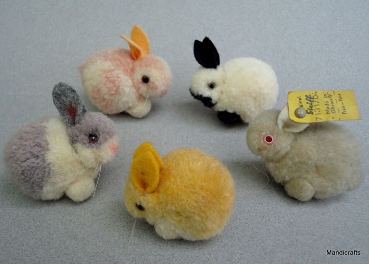 Steiff Woolen Rabbit x 5 Mixed Color Lot Bunny 4 cm one ID 1960s pom pom animals