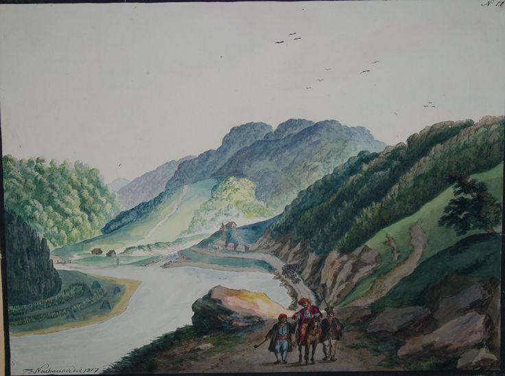 Franz Neuhauser the Younger - Valea Oltului la Turnu Roşu şi trei călători