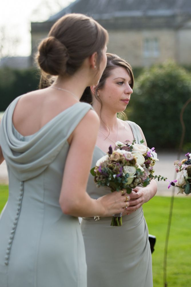 Pale Green Bridesmaid Dresses with Cowl Back & Button Detail   Elegant Classic Wedding at Babington House in Somerset   Green colour scheme   Sarah Seven Lace Illusion Neck Wedding Dress   Photography by Especially Amy   http://www.rockmywedding.co.uk/charlotte-gerard/