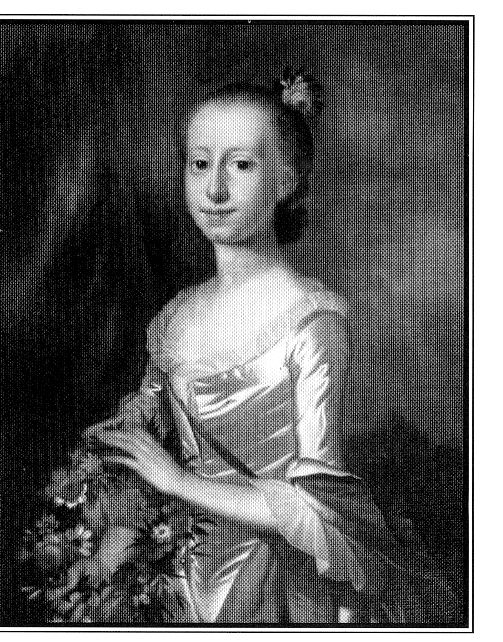 Elizabeth Allen Deas (b. 1741- d.1802) in 1759 is wearing her wedding gown of white silk with a red petticoat.  Portrait painted by Jeremiah Theus and is in a private collection.  Original owner of the 1770s gown in the Sumter County Museum collection.