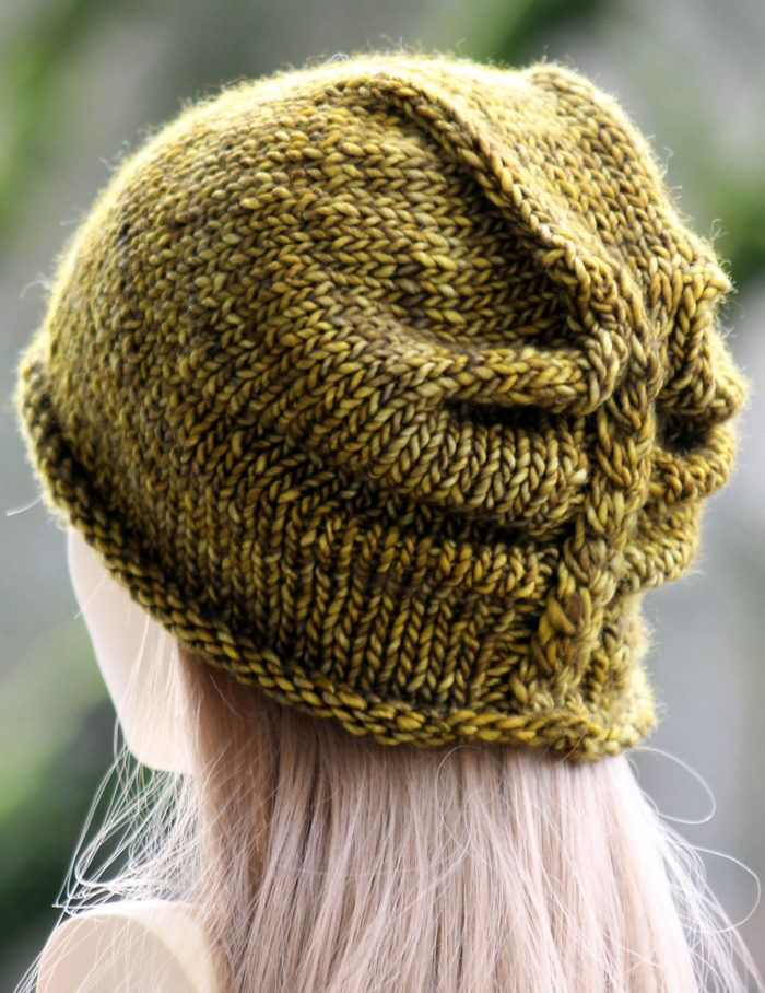 Free Knitting Pattern for Ruched Cable Hat - TheI'm Lichen This Hat is a slouchy beanie with a ruched back with a cabled braid. Designed by Gretchen Tracy of Balls to the Walls Knits.