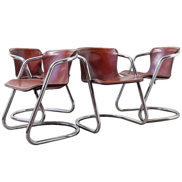 Attractive 1stdibs | Set Of 4 Leather And Chrome Dining Chairs
