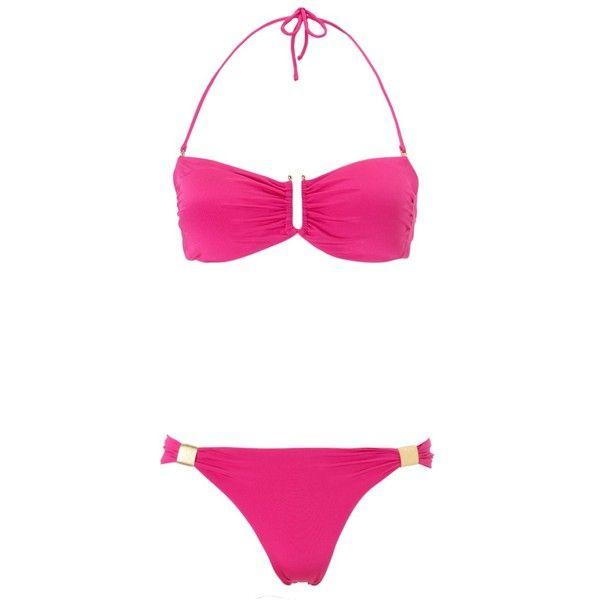 Marianna G Hot Pink Bandeau Sumba Bikini (€77) ❤ liked on Polyvore featuring swimwear, bikinis, bathing suits, swimsuits, swim, pink, halter bathing suit, swimsuits two piece, halter bikini top and halter swim top