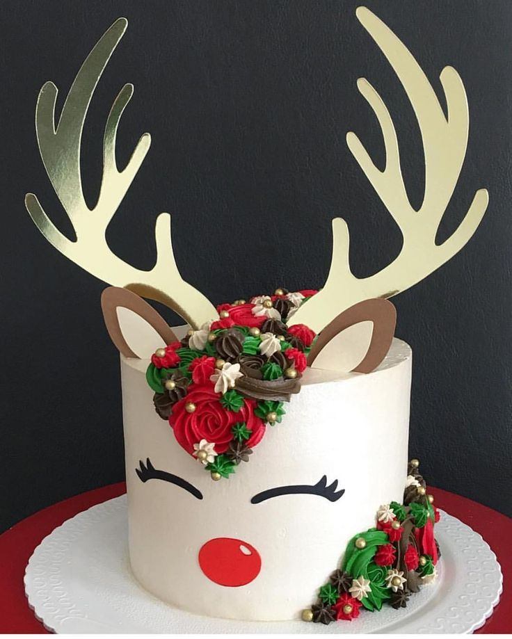 8,239 vind-ik-leuks, 39 reacties - Brookie's Cookies (@brookiescookiesco) op Instagram: 'The cutest reindeer cake I ever did see!! ❤️ by @_jumorais_ #cake #ideas #christmas #holidays…'