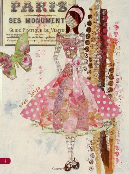 Like the hair & no face. pieced dress.  Bubble wrap strips in background.  Mixed Media Artist: Book review: Collage Couture