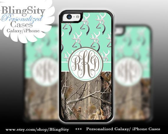 Real Tree Camo Mint Browning Deer Pattern Monogram Country Girl Browning Buckhead      View more of our designs at: #iphone5c,