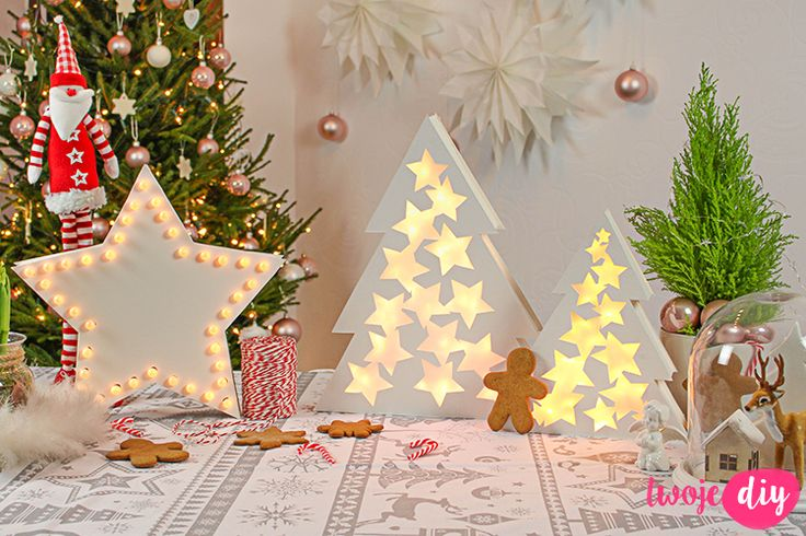 Świecące dekoracje DIY - DIY light christmastree, stars neon, tutorial na twojediy.pl
