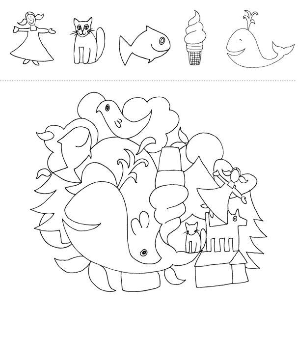 Peux-tu retrouver les contours des dessins suivants dans la grande illustration au bas de la page? Téléchargez et imprimez le jeu.  #enfant #jeux