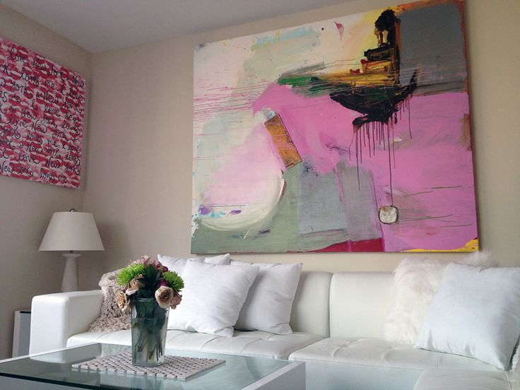 """""""Menstrual Mountain II,"""" an original painting by Diana Delgado in a New York City apartment."""
