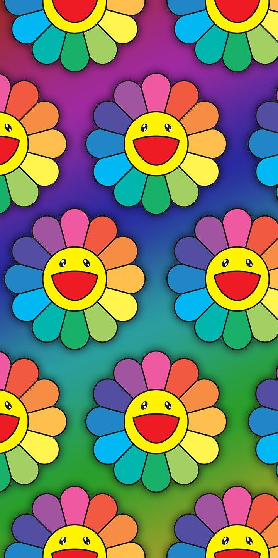 Takashi Murakami Flower Phone Wallpaper In 2020 Murakami Flower Flower Phone Wallpaper Kaws Iphone Wallpaper