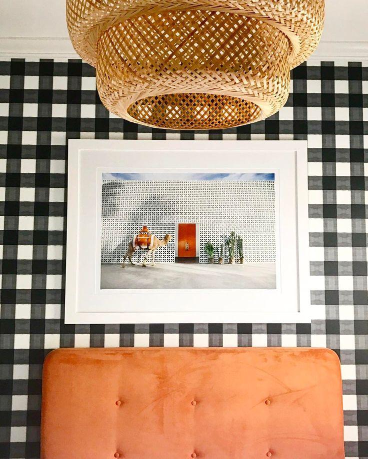 Gingham wallpaper & rattan