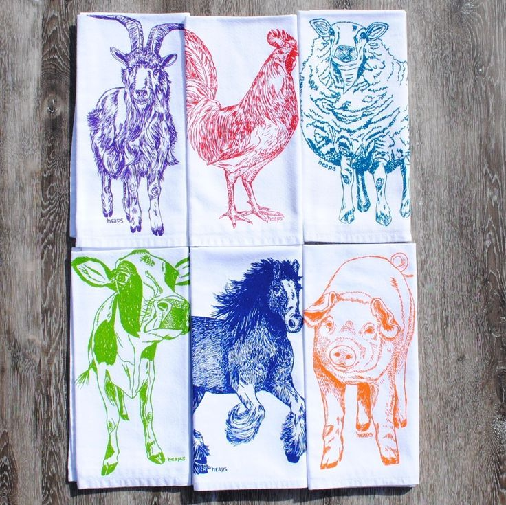 Farm Animals Napkins Set of 6 Cotton Kitchen Table Linens. Set of six cloth dinner napkins that are washable and reusable. These are crisp white napkins featuring an image of a green cow, blue horse, orange pig, purple goat, red rooster, teal sheep. I personally hand draw all of my designs and hand pull all of my screen print images. The kitchen napkins are premium quality 100% recycled cotton. They are nice and thick and will stand up to everyday wear. I use high quality water based inks...