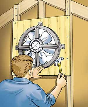 Installing an attic fan. Fans can cost about $40, and an automatic shutter can be $30. Need to adapt vents to type of roof design, house location and direct sun. 1 sq foot vent area for every 300 sq feet of attic area.