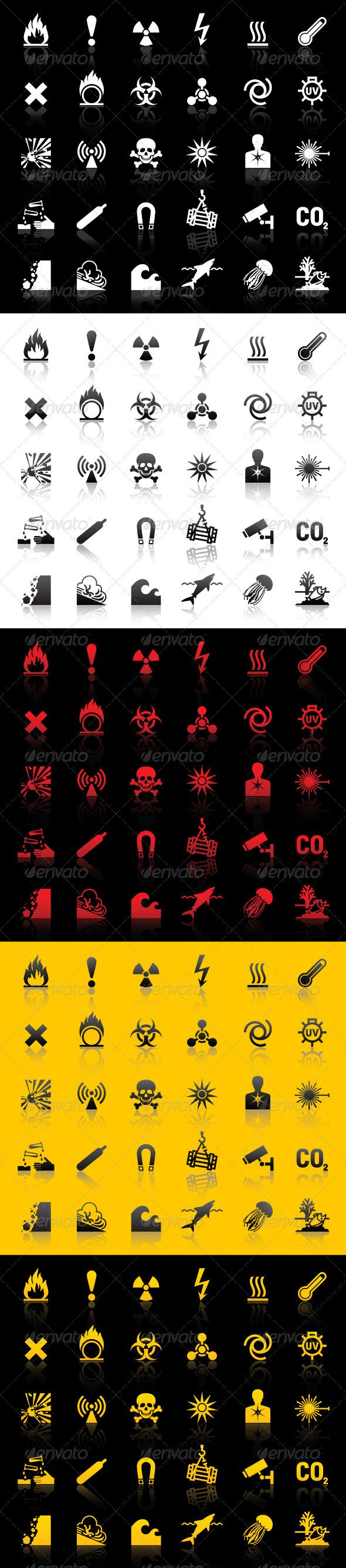 Symbols - Hazard warnings #GraphicRiver Symbols set- Hazard warnings. • These are editable vector files. • Attached ZIP folder contains five sets icons. • Files is saved in .eps8 and has high resolution JPG image. • Available RGB colors. Hazard warning symbols included: • Flammable materials • General Warning • Ionizing radiation risk • Arc Flash sign (Danger electricity) • Hot surface hazard warning sign • High temperatures hazard warning labels • Harmful or irritant materials • Oxidising…