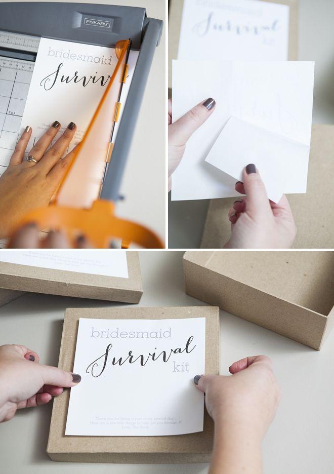 DIY // How to make a darling Bridesmaid Survival Kit! + FREE box label download!