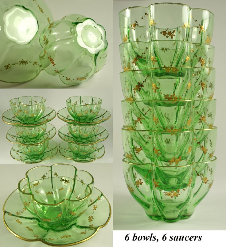 Elegant Moser Bohemian Set: Pumpkin form Fluted Green Crystal Bowl & Saucer (6/6) with Raised Gold Enamel Decoration